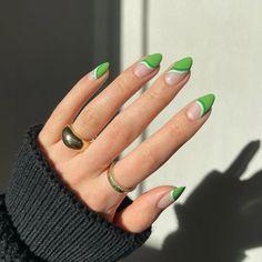 Green Nail Designs, Almond Nails Designs, Nail Designs Spring, Nail Art Designs, Almond Acrylic Nails, Best Acrylic Nails, Nail Swag, Minimalist Nails, Spring Nail Art