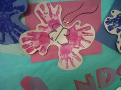 These four hand prints created a butterfly at a KinderCare.