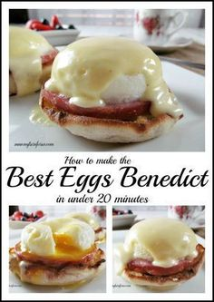 Did you know that Eggs Benedict with Hollandaise sauce can be quick and easy?This delectable breakfast of Eggs Benedict with Hollandaise Sauce takes less than 20 minutes and doesn't leave you with a pile of dirty dishes. What's For Breakfast, Breakfast Dishes, Breakfast Recipes, Gourmet Breakfast, Mexican Breakfast, Breakfast Sandwiches, Breakfast Pizza, Breakfast Ideas With Eggs, Figs Breakfast