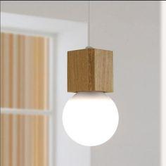 Vintage pendant light Oak Wood Retro lamp scandinavian style