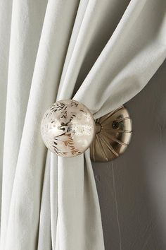 Practical Antique Curtain Drapes Tie Backs With Amber Glass Flowers Antiques Hooks, Brackets & Curtain Rods