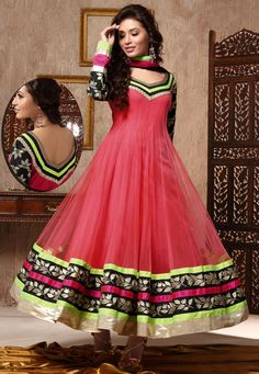 Peach Net Readymade Abaya Style #ChuridarKameez #OnlineShopping: KCR5567