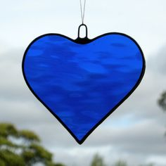 Stained Glass hanging ornament (Love Heart) Cobalt Blue on Etsy, $8.00