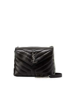 Saint Laurent Loulou Monogram Small Y-Quilted Leather Chain Bag, Black