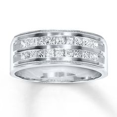 mens diamond band 1 ct tw square cut 14k white gold