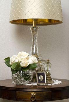 Love, love love Mercury glass & this custom shade with pearl fabric & gold lining