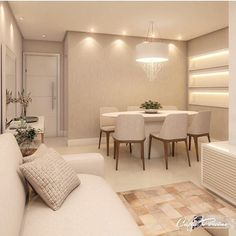 Very clean room in open concept, neutral and soft tones and beautiful lighting . Condo Design, Home Room Design, Home Interior Design, Living Room Designs, Design Design, Home Living Room, Living Room Decor, Living Dining Combo, Small Apartment Interior