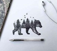 Beautiful Bear/Forest Tattoo Idea Artist- Alfred Basha I love this but with a be… Wunderschöner Bär / Wald Tattoo Idea Artist – Alfred Basha Ich liebe dies aber mit einer Strandszene Natur Tattoos, Kunst Tattoos, Tattoo Drawings, Cool Drawings, Tattoo Ink, Tattoo Wolf, Pen Drawings, Moose Tattoo, Drawings Of Bears