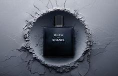 Bleu De Chanel fragrance perfume eau de parfum creative still life photography. Luxury goods still life photographer, Josh Caudwell. For product and editorial photography. London, New York, Paris, Milan.
