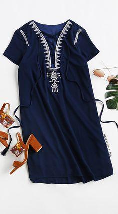 Royal Blue Lace Up Print Front Shift Dress