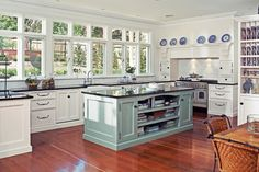 Beautiful as it is, this kitchen is a little ambitious for a first home buyer. Well, this one anyway. Nevertheless, certain elements can be extracted and recreated on a smaller scale. The duck egg blue of the island would make for a beautiful focal splash-back and the blue and white plates mantled above the range are must-have for any credible Hampton's style abode. The Willow print by the Johnson Brothers is a classic and easily accessible.