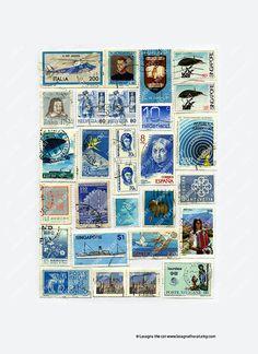 Vintage blue light blue postage stamps collage by LasagnaTheCat Postage Stamp Art, Phonograph, Vintage Stamps, Mail Art, Stamp Collecting, Collage Sheet, Mailbox, Collages, Cardmaking
