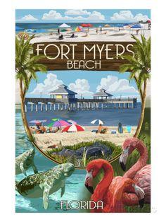 Fort Myers, Florida - Montage Scenes - Posters av Lantern Press på AllPosters.se