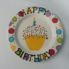 Ready to Ship - 9  Hand Painted Ceramic  Happy Birthday  Plate - Sprinkle design & could make a birthday cake and have kids write/sign a birthday quote ...