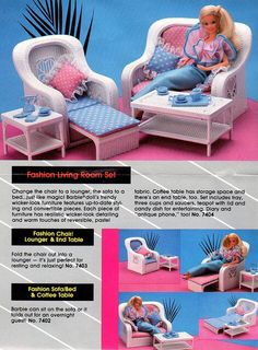 Barbie Living Room by Barbie Creations. Fit into my Barbie dream home. Barbie Dream, Barbie I, Barbie World, 1980s Barbie, Barbie Stuff, Barbie Clothes, Barbie Furniture, Dream Furniture, Wicker Furniture