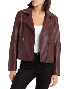 Leather Jacket with Zip and Pockets image 1 Coats For Women, Jackets For Women, Striped Jacket, Blazer Fashion, Jackets Online, Bomber Jacket, Women's Coats