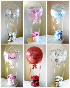 Diy Hot Air Balloons, Bubble Balloons, Birthday Balloon Decorations, Birthday Balloons, Friend Birthday Gifts, Diy Birthday, Valentines Balloons, Flower Box Gift, Crafts