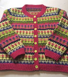Items similar to Handknitted Fairisle Toddler Cardigan Wool Bright Flowers on Etsy Baby Knitting Patterns, Baby Cardigan Knitting Pattern, Knitting For Kids, Hand Knitting, Tricot Baby, Toddler Cardigan, Knit Baby Dress, Moda Emo, Fair Isle Knitting