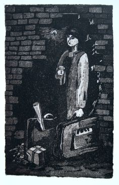 """""""Time to go"""" Etching/Aquatint 2004"""