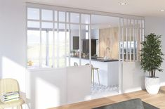 verriere-blanche-coulissante House, Interior, Home, New Homes, Living Room Windows, Small Kitchen Gadgets, White Modern Kitchen, Home Deco, Sliding Room Dividers