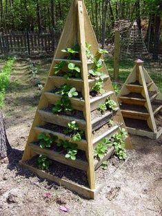 Pyramid planter for growing strawberries Strawberry Planters Diy, Strawberry Plants, Grow Strawberries, Strawberry Tower, Jardin Decor, Diy Planters, Garden Planters, Garden Beds, Herb Garden