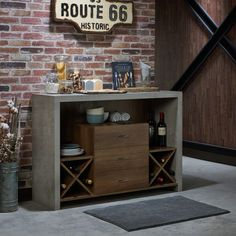 Shop for Furniture of America Mystal Industrial Concrete-like Buffet. Get free delivery On EVERYTHING* Overstock - Your Online Furniture Shop! Get in rewards with Club O! Bar Furniture, Furniture Deals, Modern Furniture, Online Furniture, Garden Furniture, Hm Deco, Built In Wine Rack, Chrome Handles, Wine Cabinets