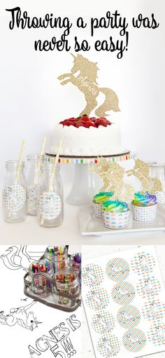 Throw the perfect unicorn birthday party with these great shortcuts!  Stickers, cupcake toppers, and table runners make decorating easy.  Bonus: that table runner is also a coloring page!  Click on the photo to shop now.
