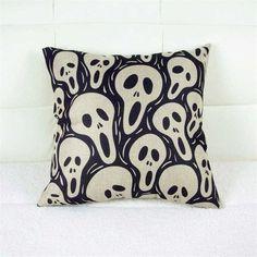 Pillowcase Punk Bohemia Paisley Skull Cushion Cover Cotton Linen Size 40*40 Printed Throw Pillows