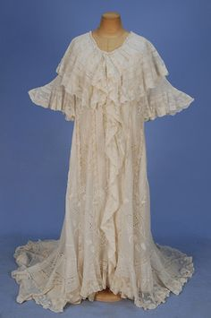 TRAINED and RUFFLED MULL PEIGNOIR with VAL LACE, 1900's