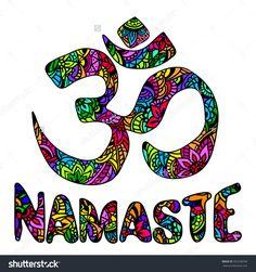 Om And Namaste Multicolor Ornament Symbol. Pattern. Vintage Decorative Vector Elements Isolated. Hand Drawn Indian Mehendi. Hindu Symbol. Tattoo, Yoga, Spirituality, Textiles, T-Shirt Printing - 355258769 : Shutterstock