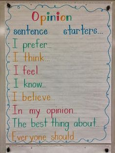 - Sentence starters from Live, Love, Laugh, and Learn! This site also offers a video and other ideas for teaching persuasive writing. Great sentence starters to get our kiddos' brains thinking about opinion writing! Writing Lessons, Writing Resources, Writing Ideas, Writing Services, Writing Activities, Science Writing, Writing Checklist, Writing Centers, Grammar Lessons