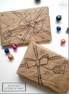 Gift Wrapping Ideas Use brown bags and a Sharpie to make super cute and FUN gift wrap! No bows or gift tags needed!Use brown bags and a Sharpie to make super cute and FUN gift wrap! No bows or gift tags needed! Creative Gift Wrapping, Creative Gifts, Wrapping Ideas, Wrapping Gifts, Creative Ideas, Craft Gifts, Diy Gifts, All Things Christmas, Christmas Crafts