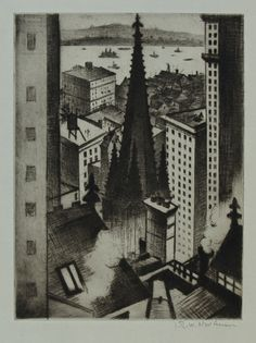Ernest Brown & Phillips. C. R. W. Nevinson. The Temples of New York. Drypoint