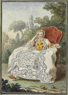 """""""Mme. la Vicomtesse de Rouchechouart"""" by Louis Caroggis Carmontelle (1759)"""