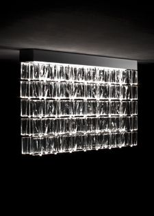 Walls of lights Modular system in transparent crystal or colored glass Fabbian Tile