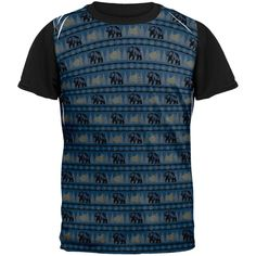 Grizzly Bear Adirondack Pattern Blue All Over Mens Black Back T Shirt