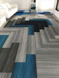 Most up-to-date Photo Carpet Tiles ideas Concepts Commercial flooring options are many, but there is nothing like carpet tiles. Carpet Design, Floor Design, Tile Design, House Design, 1920s Interior Design, Commercial Flooring, Commercial Carpet, Carpet Tiles, Decorating Rooms