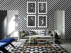 What a Great space Love the wall treatment with this black and White wallpaper very graphic modern and élégant go Greg natal!  Eric Racette design