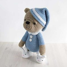 Sleepy teddy in pajamas amigurumi by Kristi Tullus