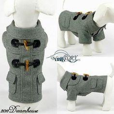 NEW Luxury British Couple Style Pet Coat Dog Apparel Grey Black All Sizes