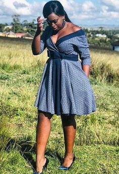 Customary Shweshwe Dresses can be beat whenever of the week, either to task for coincidental Fridays South African Dresses, African Print Dresses, African Print Fashion, African Attire, African Wear, African Fashion Dresses, African Clothes, African Prints, Fashion Outfits