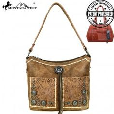 MW525G-116  Montana West Concho Collection Concealed Handgun Hobo Bag