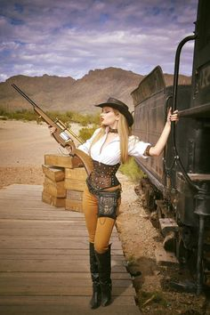 How to Recreate Amy Wilder's Wild West Steampunk Costume (western america cowgirl/cowboy aka weird west)  - For costume tutorials, clothing guide, fashion inspiration photo gallery, calendar of Steampunk events, & more, visit SteampunkFashionGuide.com