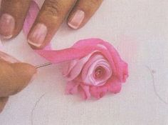 Wonderful Ribbon Embroidery Flowers by Hand Ideas. Enchanting Ribbon Embroidery Flowers by Hand Ideas. Ribon Embroidery, Embroidery Designs, Ribbon Embroidery Tutorial, Embroidery Stitches, Ribbon Art, Fabric Ribbon, Ribbon Crafts, Fabric Flowers, Ribbon Rose
