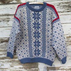 Nordic Norwegian Sweater Pure Wool Voss Blue White Red Unisex Medium Made in Norway Scandinavian Scandi Fashion Snowflake Design Holiday by stonebridgeworks on Etsy