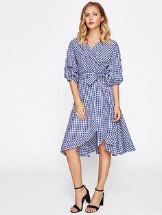 SheIn - SheIn Gathered Sleeve Gingham Tie Waist Overlap Dress - AdoreWe.com
