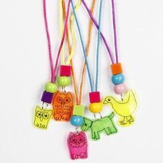 Pendants made from Neon Coloured Shrink Plastic Sheets