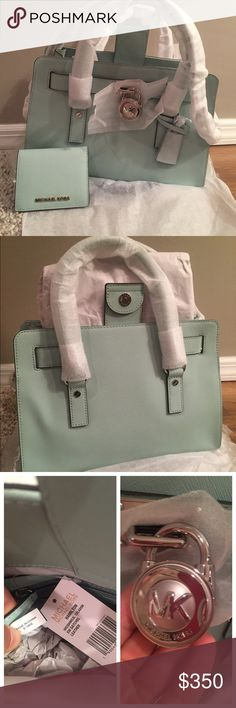 """Michael Kors Med Hamilton & Wallet Set ⭐BRAND NEW PACKAGED⭐️NWT MK Medium Hamilton In Amazing Celadon Saffiano Leather W/ ⭐️Silver Hardware⭐️ Wallet is color Celadon as well .. Can hold lots of cards and cash Absolutely Stunning SetFeatures:❣Saffiano leather magnetic snap closure❣Double handles❣Chain shoulder strap❣2 slip pockets and 1 zip pocket inside❣12.75(L) x 9(W) x 5.5(H); 11"""" dropNO TRADESFIRM ON THIS SITEDust Bag IncludedListed on Ⓜ️erc for less Michael Kors Bags Satchels"""