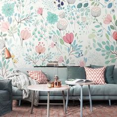 This pretty wall mural is bursting with beautiful botanicals. Featuring paintings of lotus flowers. Buy online and get lowest rates on Worldwide Delivery!