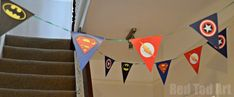 Superhero Bunting.  free template and good ideas for a kids superhero-themed party